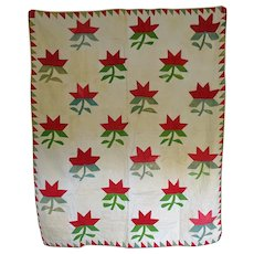 Antique Crib Quilt Lilies  Red and Green