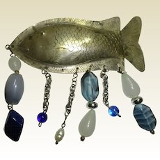 Fish Pin  Metal w Beads