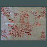 Red Work Sham Portrait maybe of Paul Revere as a boy maybe not