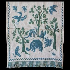 Italian Embroidery ASOLO  runner ~ whimsical Animals c1910