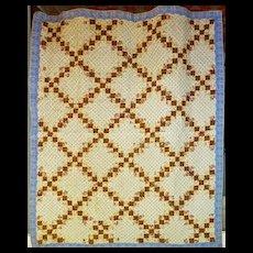 Antique Irish Chain Quilt mid 1800's tlc