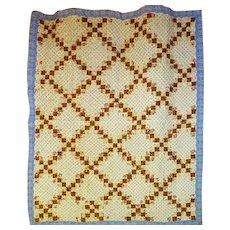 Antique Irish Chain Quilt mid 1800's tlc