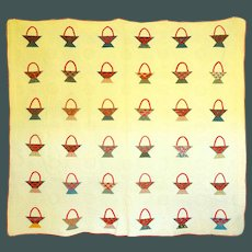 Antique Baskets Quilt c. 1900 Never used