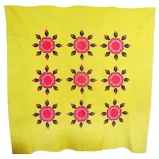 Antique Pennsylvania Rose Of Sharon Applique Bright Yellow and Pinks
