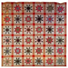 old Variable Star Quilt TOP- great cotton prints