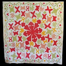 Early Applique Coverlet / Quilt Medallion with Free-form shapes in wonderful colors