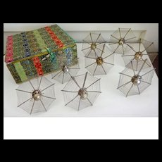 Spider Place card Holders 8 in a brocade box--intricate