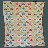 1800's Appliqued Tiny Baskets Youth Quilt on Point