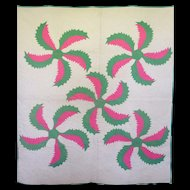 Vintage Applique Quilt, Whirling Watermelon colors...a stunner