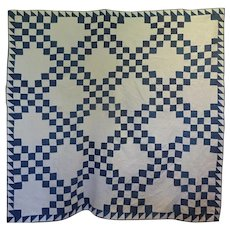 Antique Quilt - Indigo and White Irish Chain