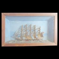 Folk Art Ship Diorama c 1860