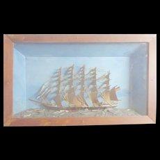 Folk Art Ship Diorama c 1860