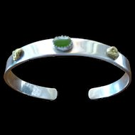 Bracelet ~ Sterling w/ jade cabochon & two gold nuggets ~ heavy