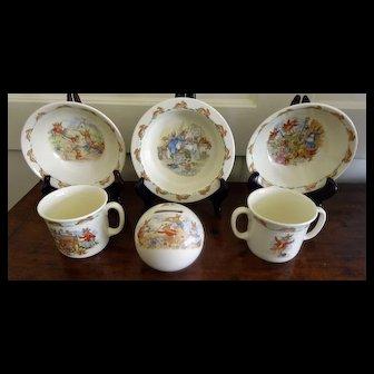 Bunnykins Royal Doulton 6-pieces, Bank, bowls, Cups - Children