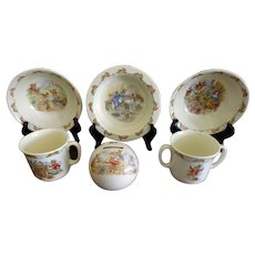 Bunnykins Royal Doulton 6-pieces, Bank, bowls, Cups - Children