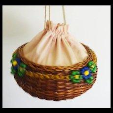 Vintage Sewing Basket Draw-string and Pekin Beads