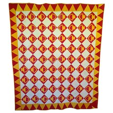 Antique Quilt Turkey Red and Cheddar Baskets--all by hand 12-spi