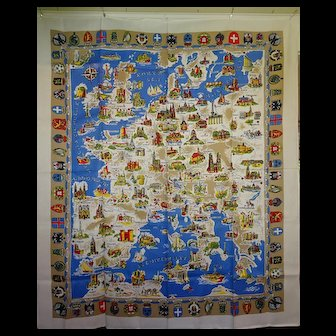 """vintage Map of Europe """"Table Cloth"""""""