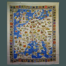 "vintage Map of Europe ""Table Cloth"""
