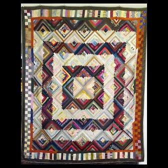 Antique Silk Log Cabin Quilt