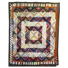 Antique Silk Log Cabin Quilt