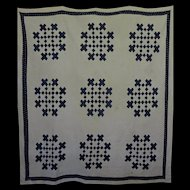 """Old Indigo and White Quilt -""""repurposer"""" or Display"""