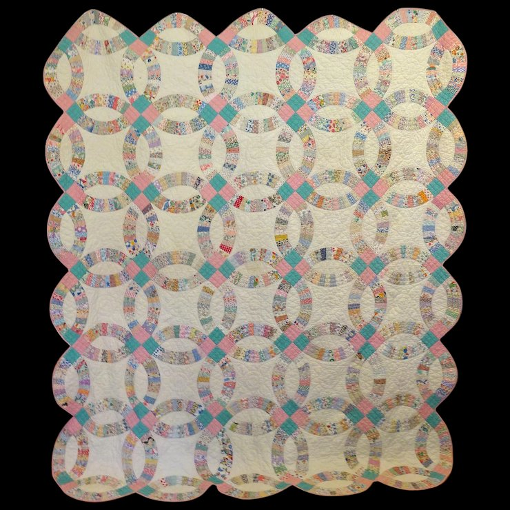 Vintage 30 S Double Wedding Ring Quilt L A R G E Click To Expand