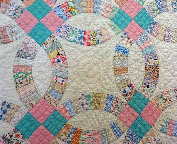 Vintage 30 S Double Wedding Ring Quilt L A R G E Cow Hollow Quilts
