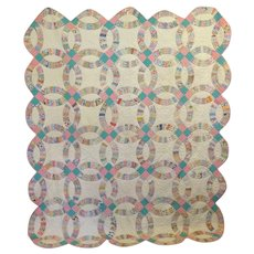 Vintage 30's Double Wedding Ring Quilt    l a r g e