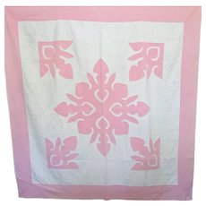 Vintage Applique Quilt ~ Hawaiian Style, Pink and White