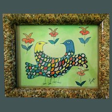 "Manuel Lepe' '36-'84 ~Folk Art Dove painting ""Las Palomas"""