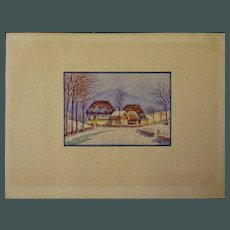 "Old Miniature Watercolor Painting 2.25"" x 1.50"""