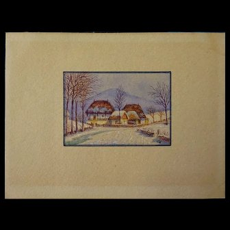 """Old Miniature Watercolor Painting 2.25"""" x 1.50"""""""