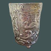 Heavy sterling silver Repousse Cup duck motif 3.3 oz.