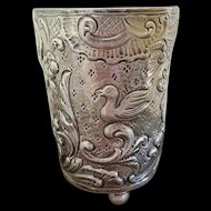 Heavy silver Repousse Cup Chicken motif 3.3 oz.