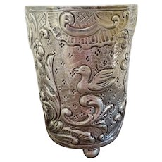 Heavy silver Repousse Cup Bird motif 3.3 oz.