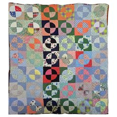 Ultra Feed Sack hand pieced Charm Quilt C 1940