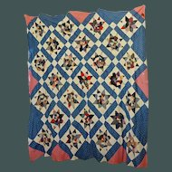 Quilt TOP String Stars w Indigo and Double Pink sashing