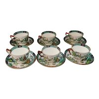 Crown Staffordshire Ye Old Willow 6 Cups and Saucers