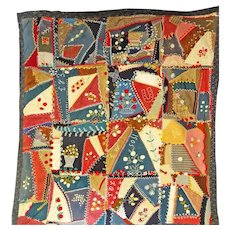 1905 Country Crazy Quilt  Folk Art-ish and Charming
