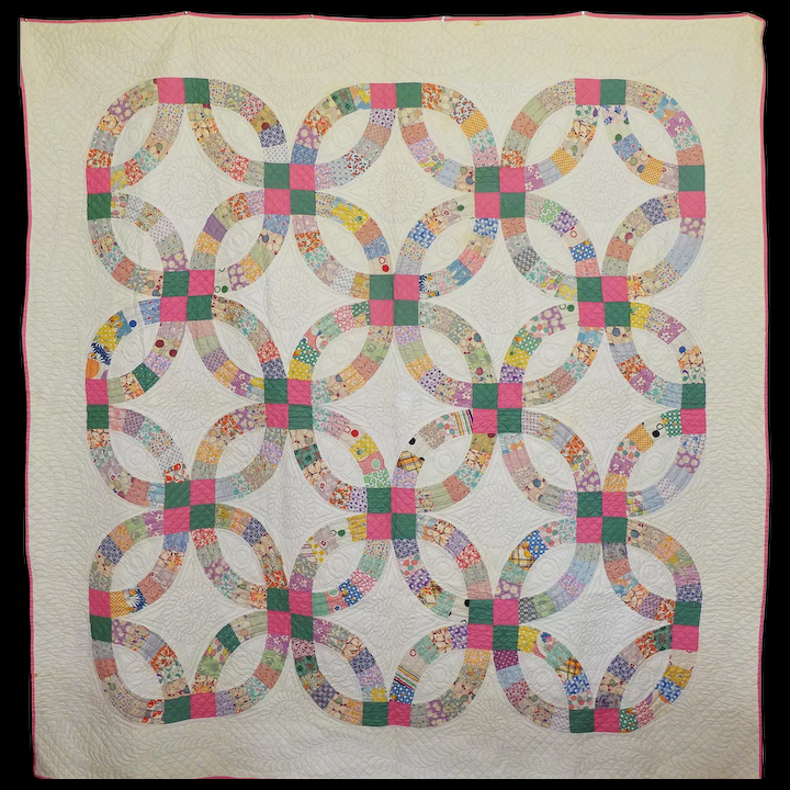Double Wedding Ring Quilt.Exceptionally Fine Double Wedding Ring Quilt C 1930