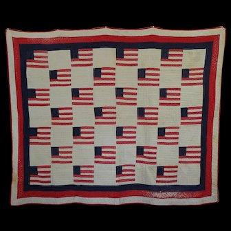 Primitive American Flag Quilt  o-l-d