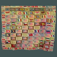 World Flag Felts tied Quilt c1900-20