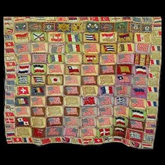 World Flag Felts tied Quilt c1900-20