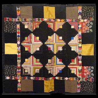 """Silk 'different"""" Log cabin quilt  c1890"""