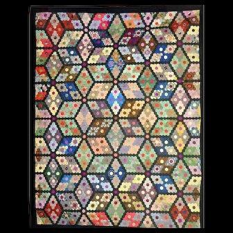 Another beautiful Silk Quilt ,1890  Hexagon Diamonds