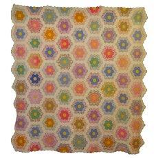 1930's Grandmother's Flower Garden Beautiful Quilt