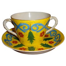 Mark & Gutherz  2-Handled Cup  & Saucer..Gorgeous Colors