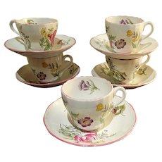 "Spode ""Marlborough Sprays"" Teacups set of 5 one is free"