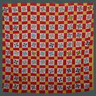 Old unused Quilt TOP LeMoyne Stars ~ Cheddar/T-red